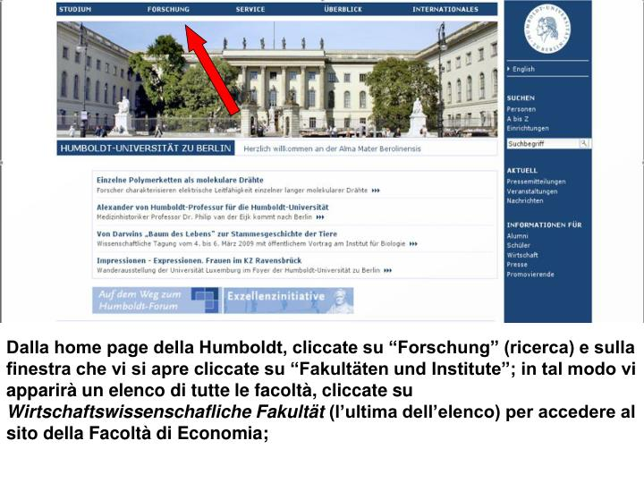 Dalla home page della Humboldt, cliccate su Forschung (ricerca) e sulla finestra che vi si apre cliccate su Fakult