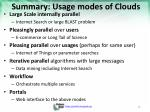 summary usage modes of clouds