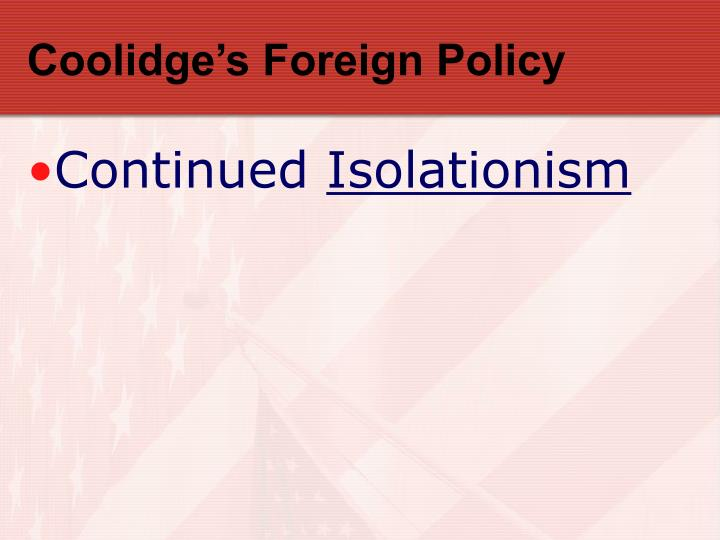Coolidge's Foreign Policy