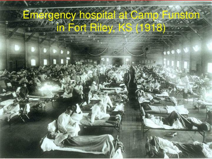 Emergency hospital at Camp Funston in Fort Riley, KS (1918)