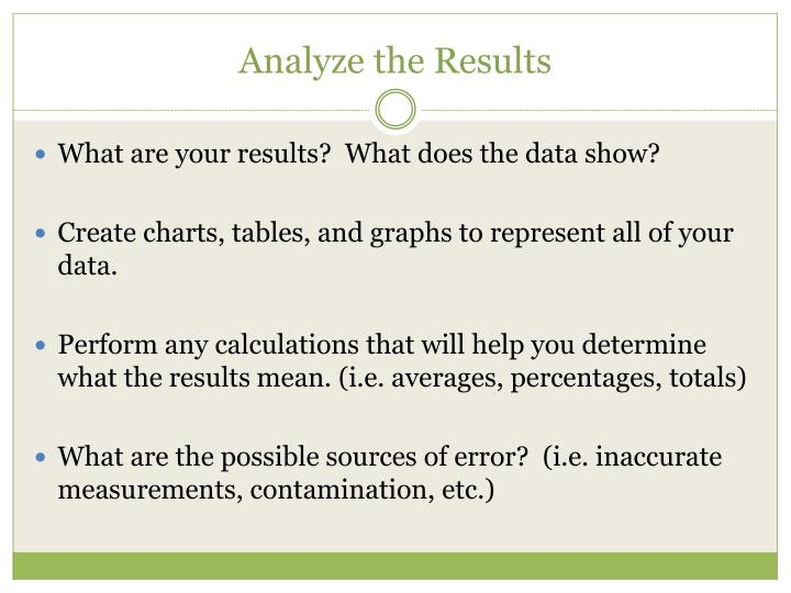 Analyze the Results