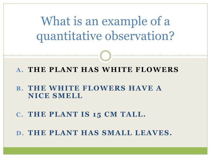 What is an example of a quantitative observation?