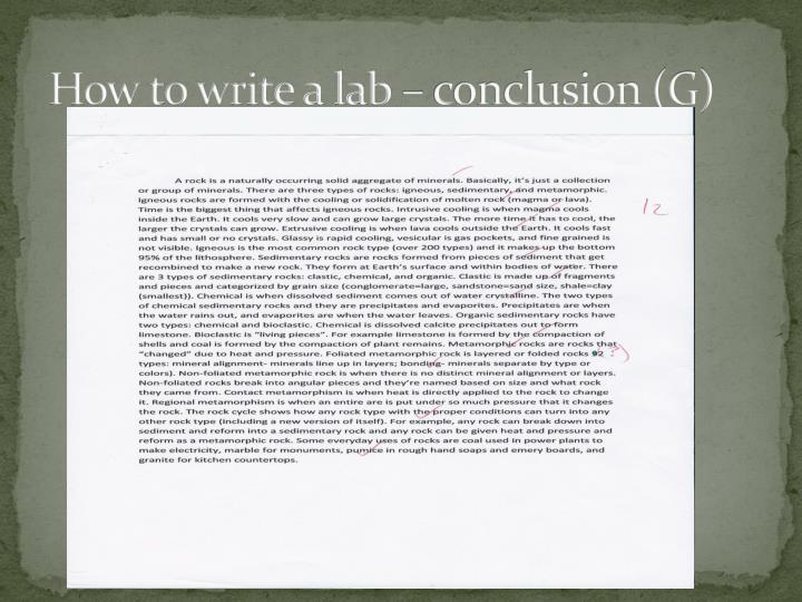 How to write a lab – conclusion (G)