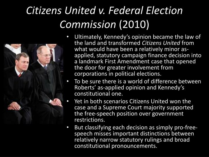 citizen united vs federal election essay Street law case summary  therefore, any law that limits donating or spending  money on elections limits free speech, and the government must have a   citizens united sued the fec in federal court, asking to be allowed to show the  film.
