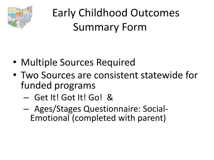 Early Childhood Outcomes Summary Form