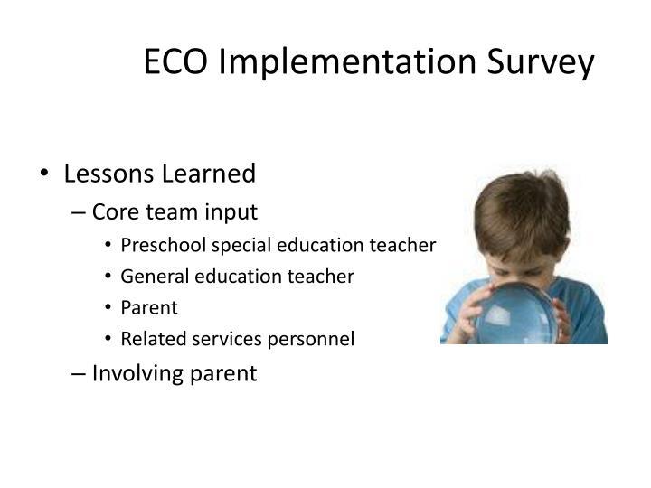 ECO Implementation Survey