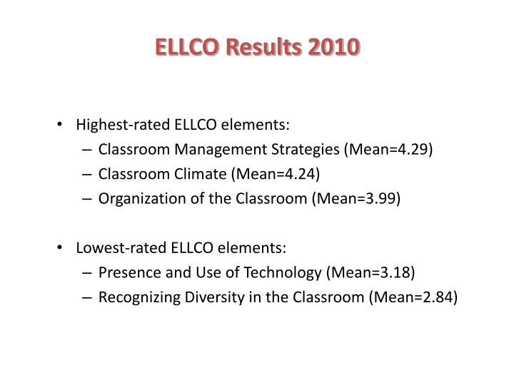 ELLCO Results 2010