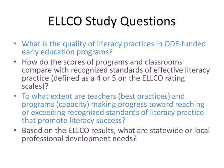 ELLCO Study Questions