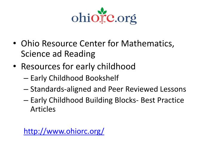 Ohio Resource Center for Mathematics, Science ad Reading