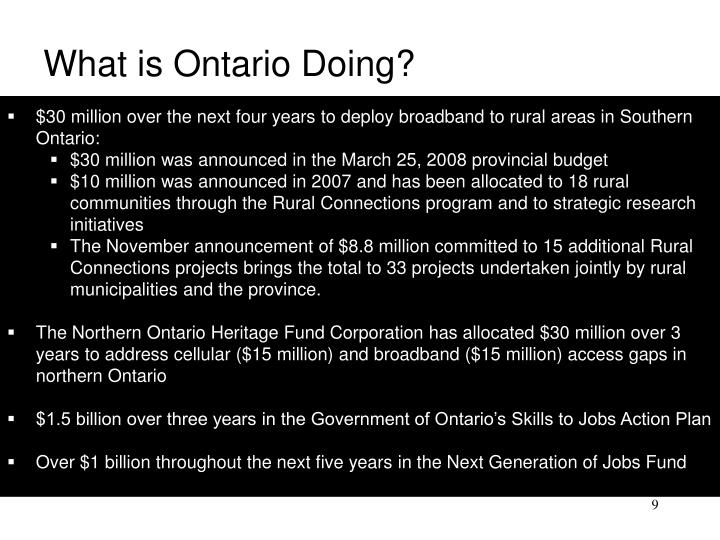 What is Ontario Doing?