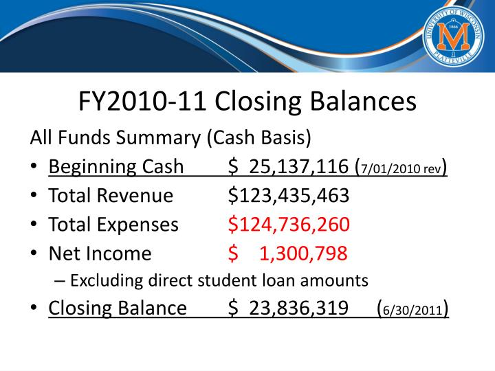 FY2010-11 Closing Balances