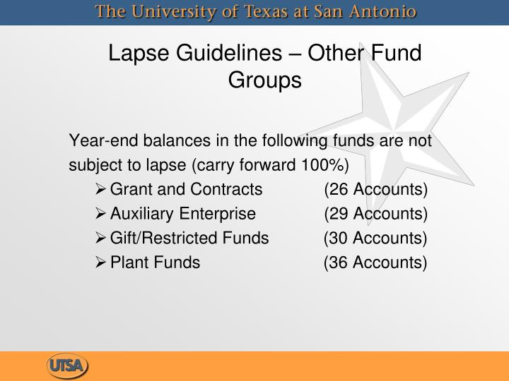 Lapse Guidelines – Other Fund Groups