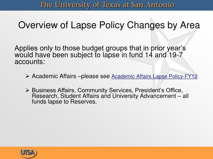 Overview of Lapse Policy Changes by Area
