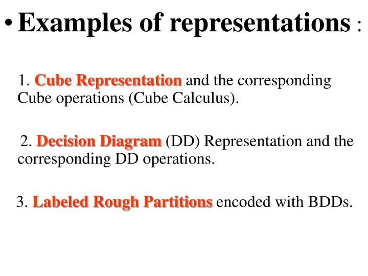 Examples of representations