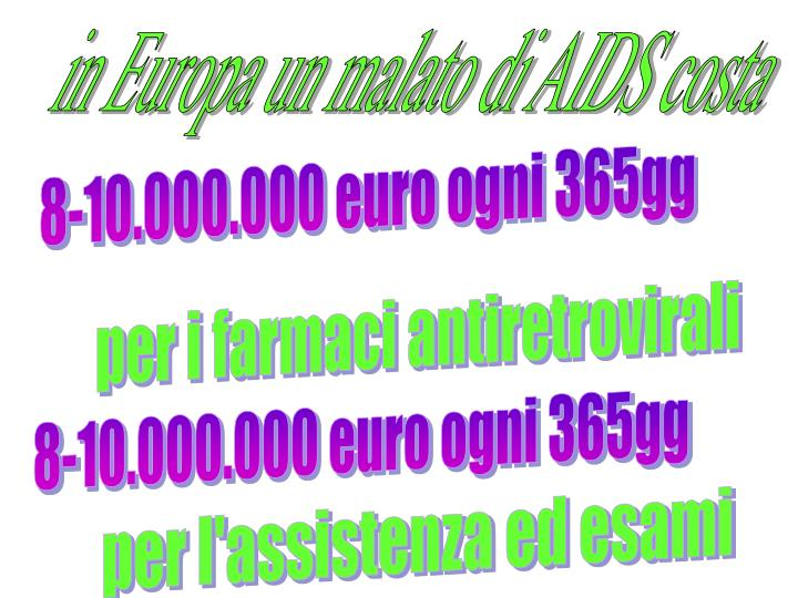 in Europa un malato di AIDS costa