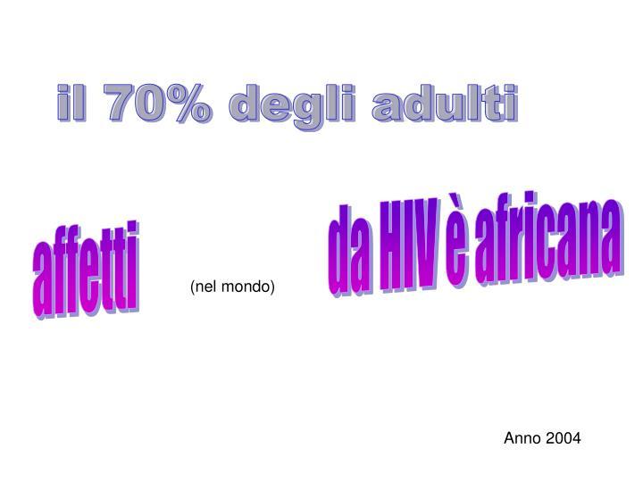 il 70% degli adulti