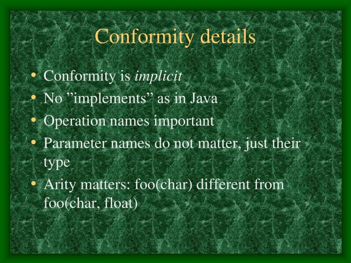 Conformity details