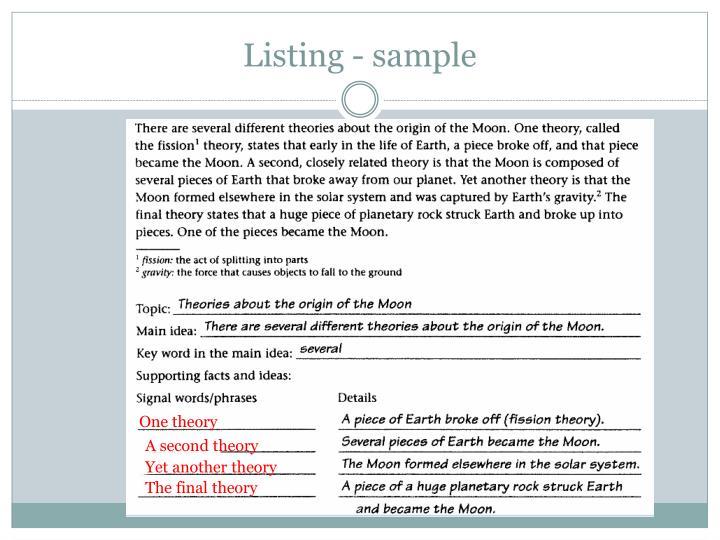 Listing - sample