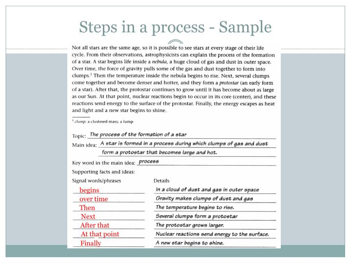 Steps in a process - Sample