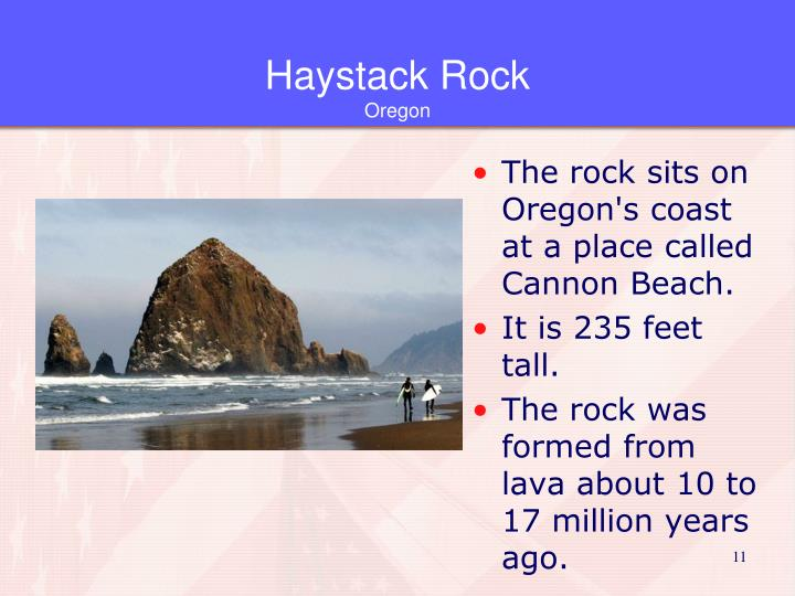 The rock sits on Oregon's coast at a place called Cannon Beach.
