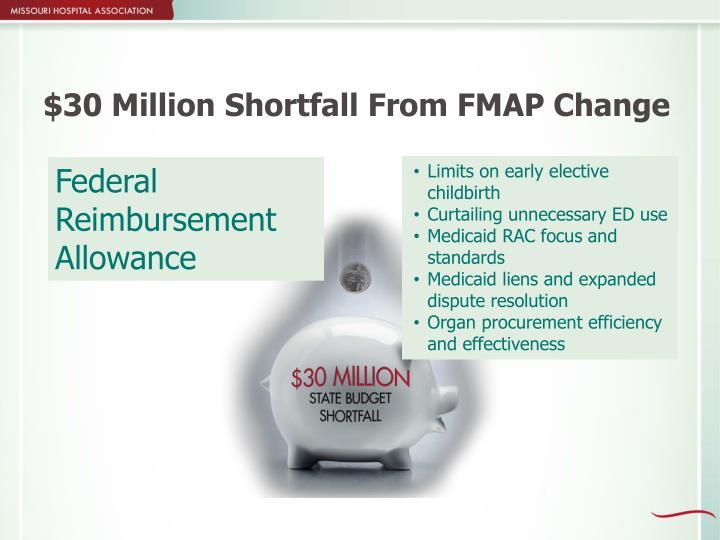 $30 Million Shortfall From FMAP Change