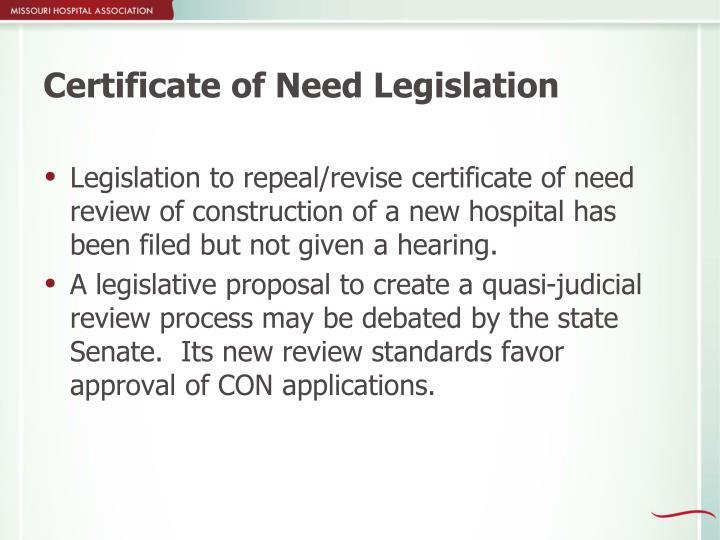 Certificate of Need Legislation
