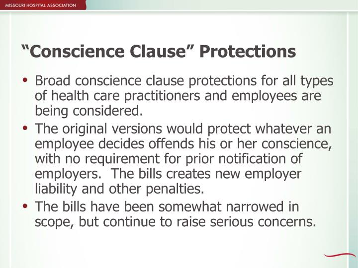 """""""Conscience Clause"""" Protections"""
