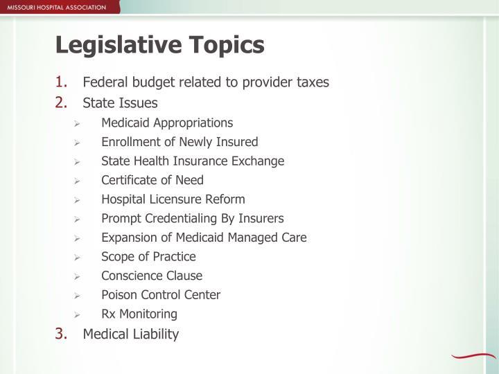 Legislative Topics