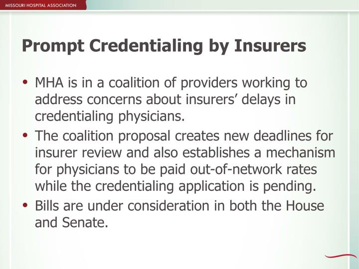 Prompt Credentialing by Insurers