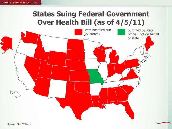 States Suing Federal Government Over Health Bill (as of 4/5/11)