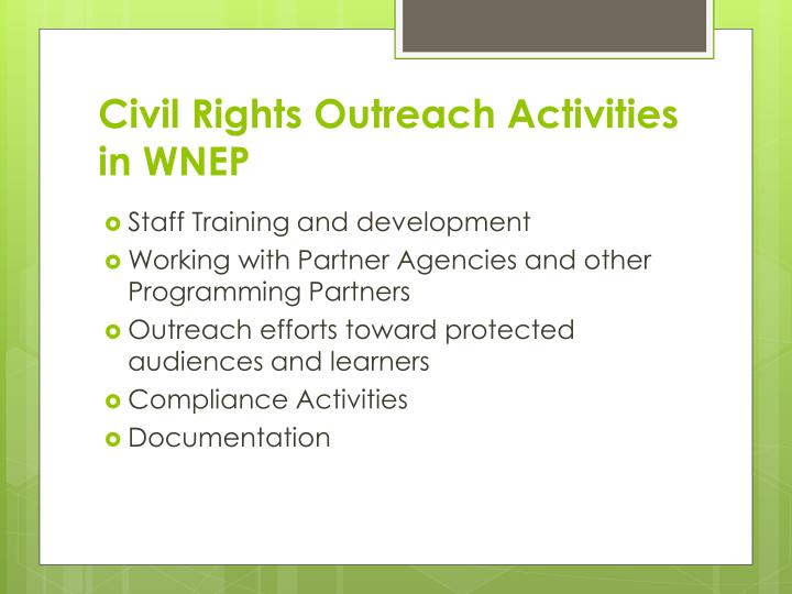 Civil Rights Outreach Activities in WNEP