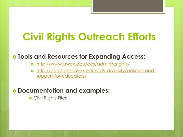Civil Rights Outreach Efforts