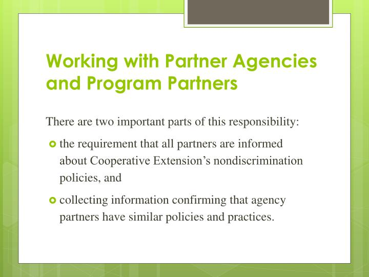 Working with Partner Agencies and Program Partners