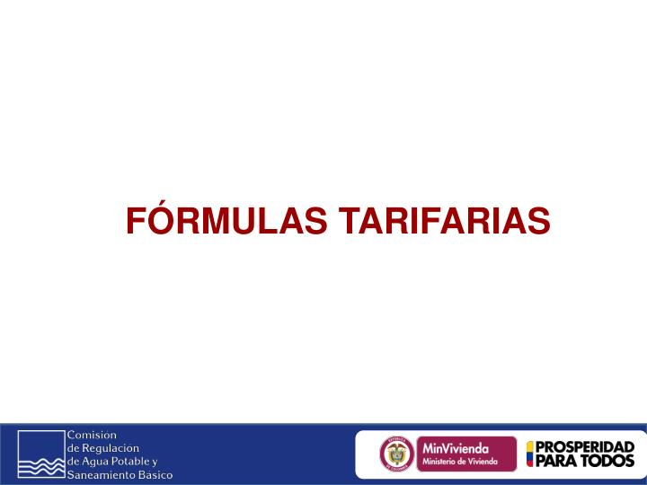 FÓRMULAS TARIFARIAS