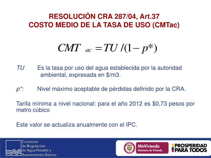 RESOLUCIÓN CRA 287/04, Art.37