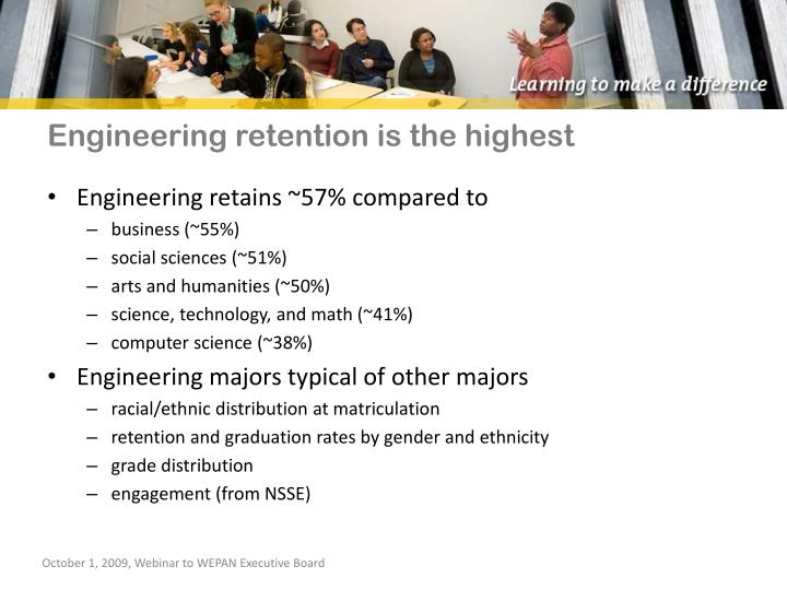 Engineering retention is the highest