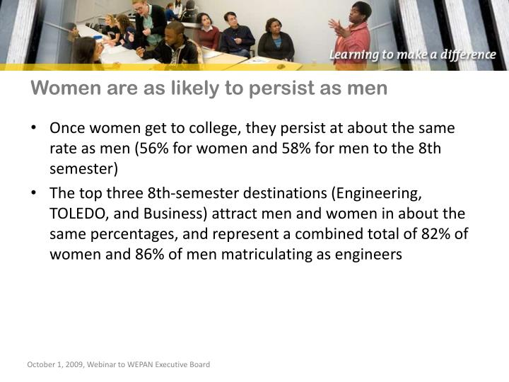 Women are as likely to persist as men