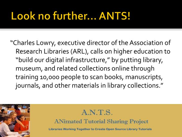 Look no further… ANTS!