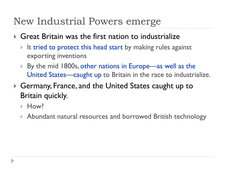 New Industrial Powers emerge