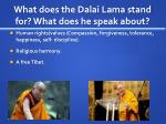 what does the dalai lama stand for what does he speak about
