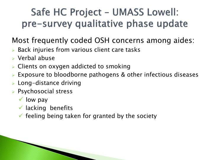 Safe HC Project – UMASS Lowell: