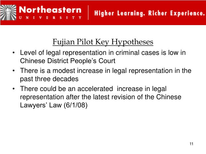 Fujian Pilot Key Hypotheses