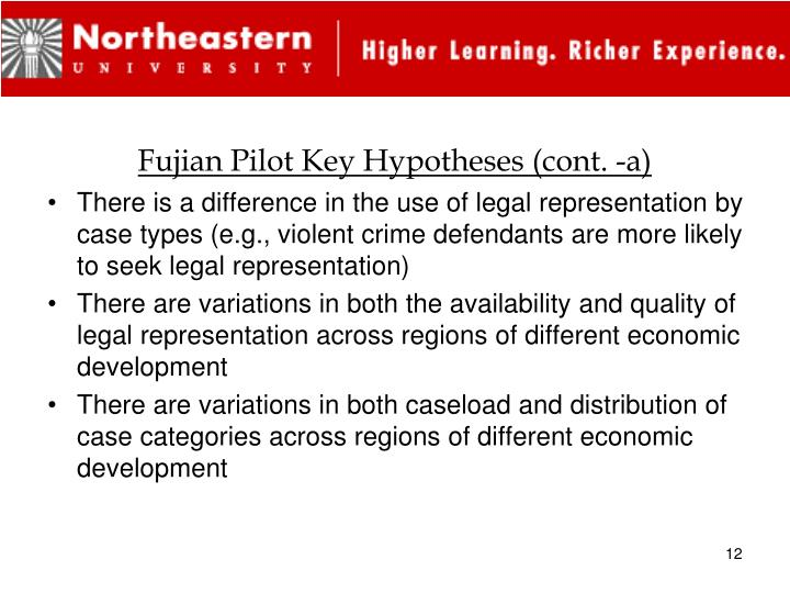 Fujian Pilot Key Hypotheses (cont. -a)