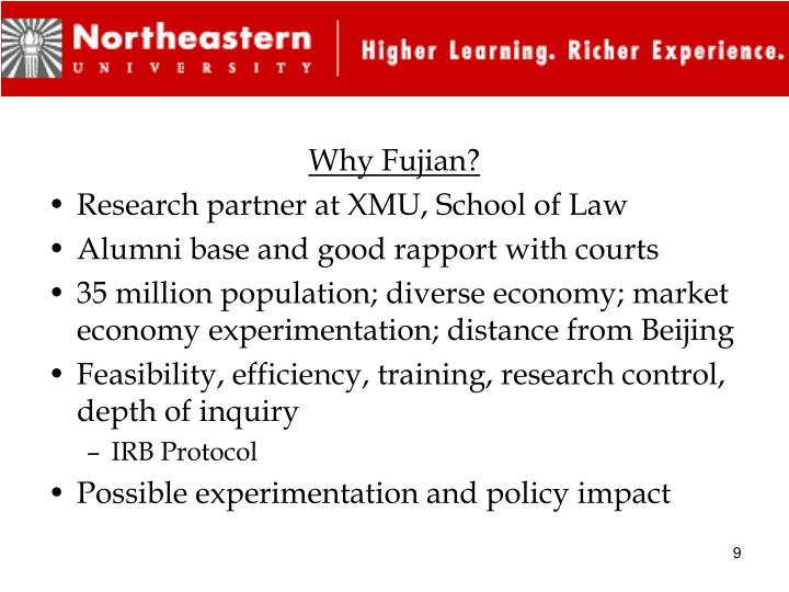 Why Fujian?