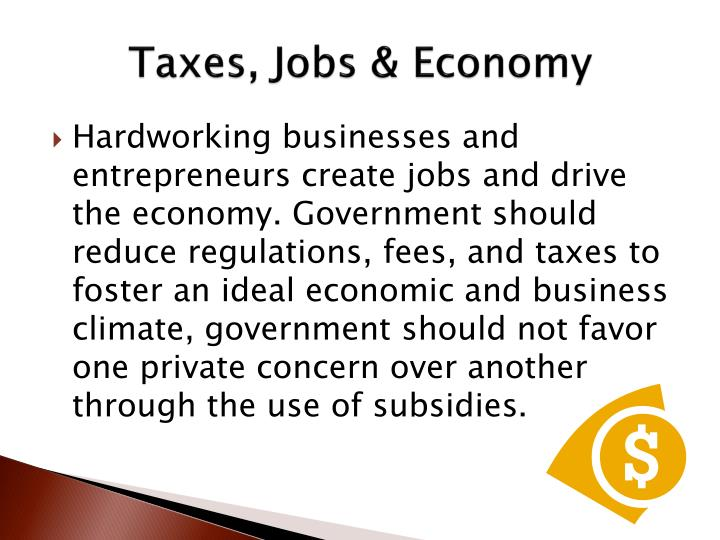 Taxes, Jobs & Economy