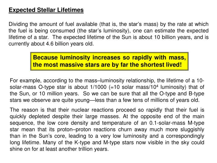 Expected Stellar Lifetimes