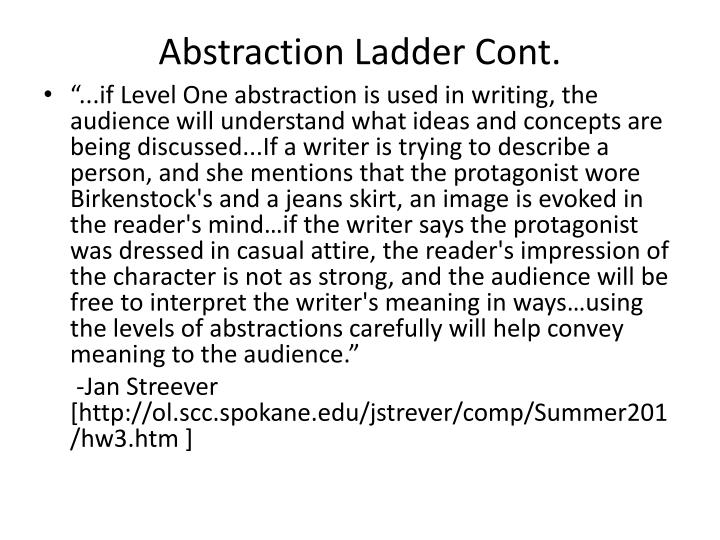 Abstraction ladder cont
