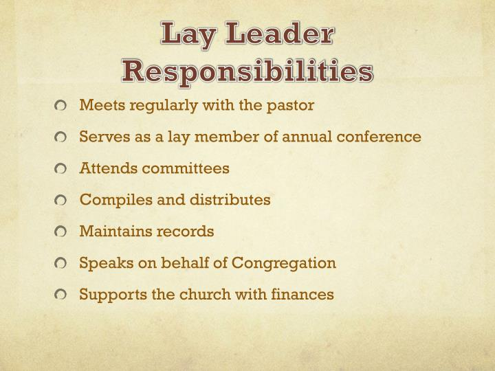 Lay Leader Responsibilities