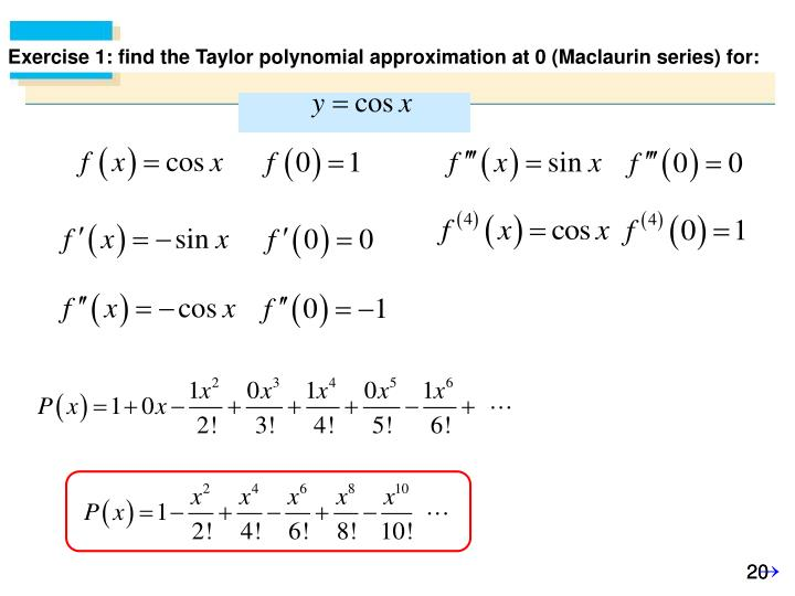 Exercise 1: find the Taylor polynomial approximation at 0 (