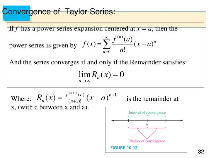Convergence of  Taylor Series: